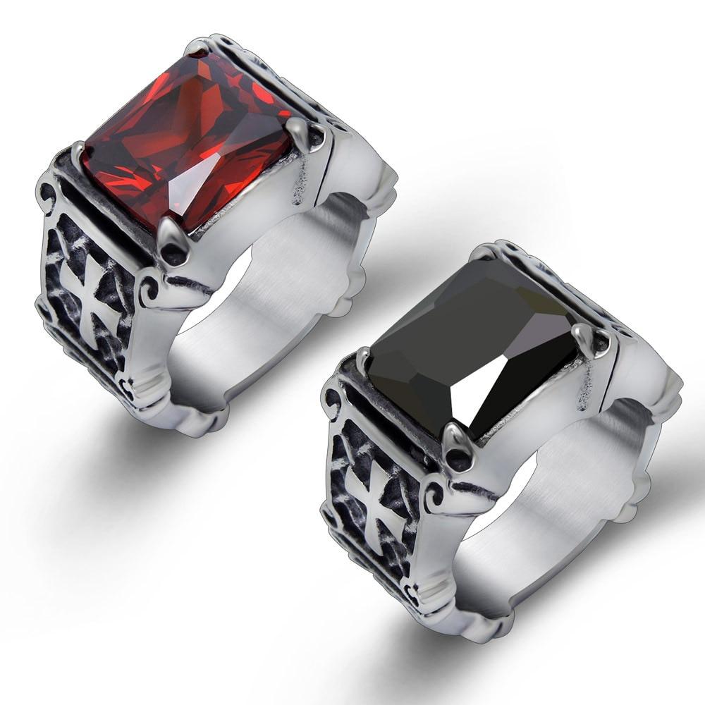 Titanium Steel 316L Fashion Punk Men\'s Ring Retro Red Jewel Finger ...