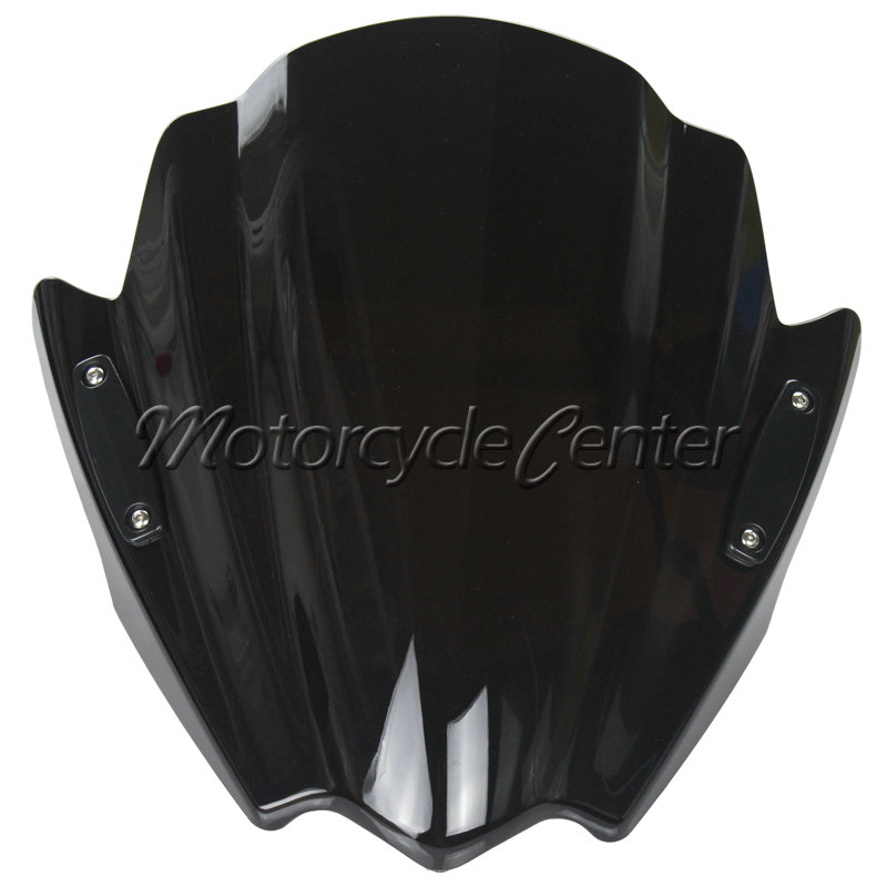 Street Bikes Wind Deflectors Windshield Windscreen For 2013-2015 Kawasaki Z800 Z300 Z250 Z 800 300 250 Vulcan S Dark Smoke 14 15 motorcycle street bikes wind deflectors windshield windscreen for 2006 2014 yamaha fz1 fz1n fz6 s2 fz8 fz 6 8 dark smoke 08 12