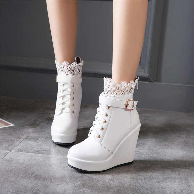 2bdefc5ff ... YMECHIC Winter Buckle Wedges Platform Ankle Combat Boots for Women Lace Up  White Black High Heel ...