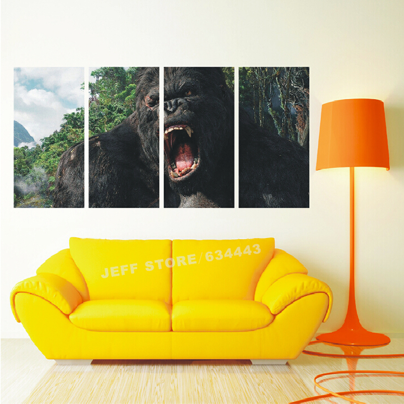 Landscape Wall Painting 4 Group Gorilla Modern Art Picture Paint On ...