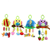 1pcs Baby Rattle Ring Bell Baby Plush Owl Elephant Fish 4 Style Lathe Hanging Musical Baby