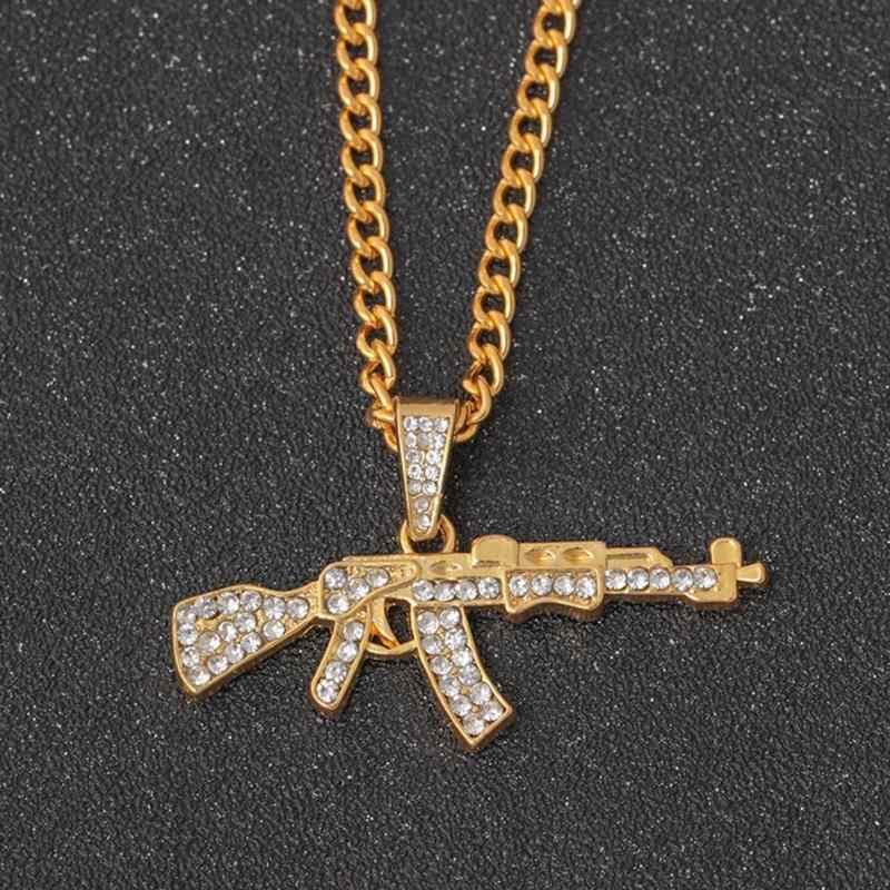 ファッションヒップホップネックゴールドローズメッキピストルウジ銃ペンダント & ネックレス男性女性パーティーアクセサリー кулон