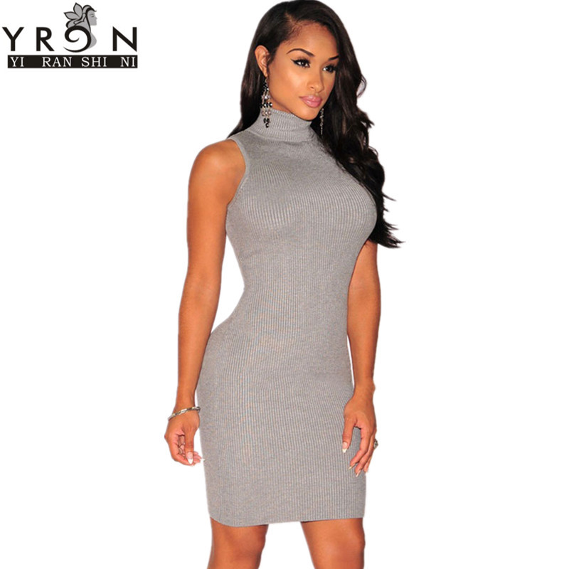 Robe Pull Femme Hiver Autumn 2016 Grey/Apricot Knit <font><b>Ribbed</b></font> <font><b>Turtleneck</b></font> Sleeveless <font><b>Sweater</b></font> <font><b>Dress</b></font> Casual Women Clothing LC27616