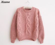 2018 Women christmas Variegated thick linen o-neck sweater women Autumn winter loose Fashion pullovers sweaters jumper