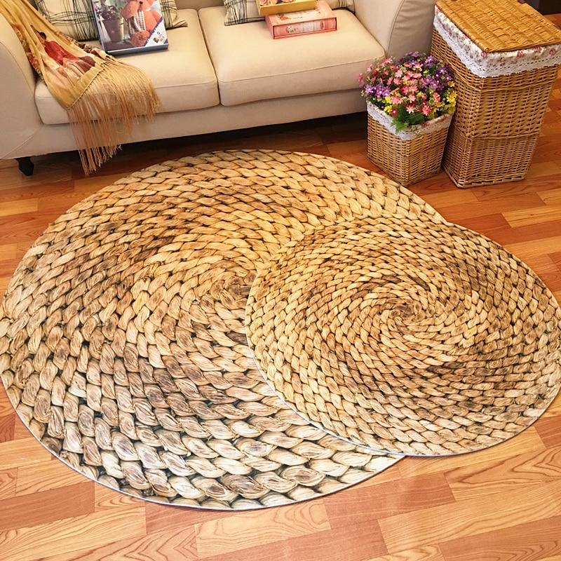 Grand tapis rond 120 cm tapis japonais moderne minimaliste salon chambre table basse ronde chaise pivotante tapis