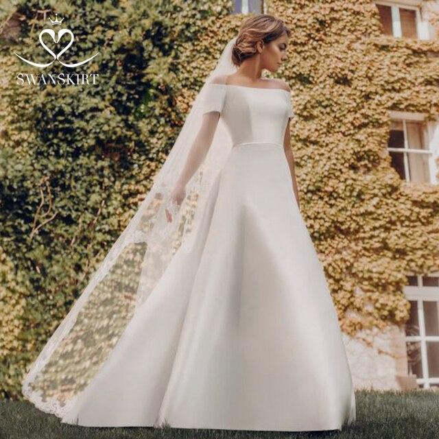 82e6bb537 Falda elegante cuello barco apliques Línea A vestidos De novia 2019 lujo  princesa vestido talla grande bata Mariee X111