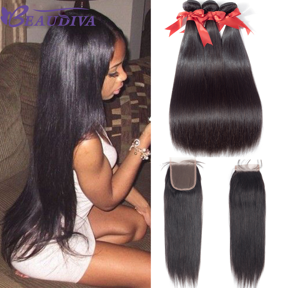 Beaudiva Malaysian Straight Hair Bundles With Closure 3 Bundles With Closure 100% Straight Human Hair Bundles With Closure