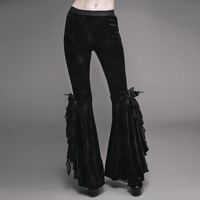EVA LADY Gothic Dark Embroidery Velour Flare Pants Steampunk Stage Performance Women Trousers with Rose Lace Decorated