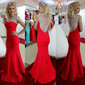 See Though Back Ready to ship Big Discourt Promotion 2016 Cap Sleeve Scoop Red Long Bridesmaid Dress for women