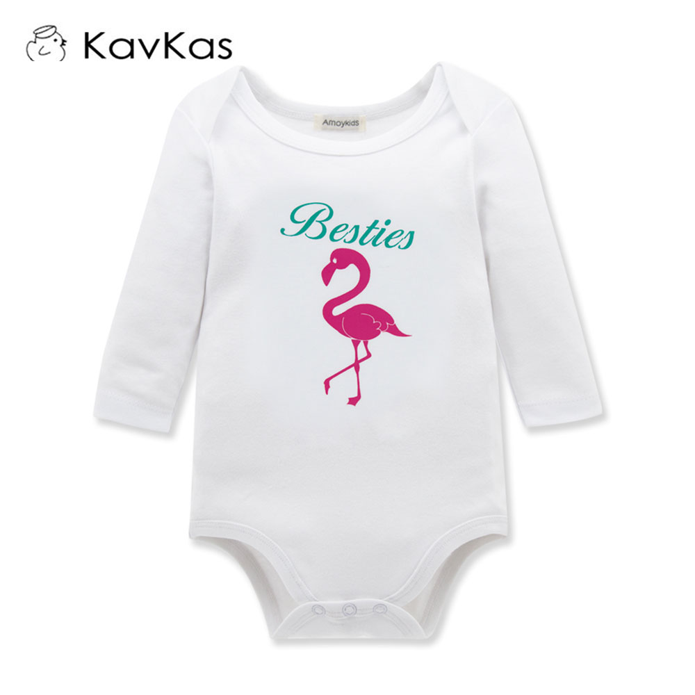 c5aa32e15194 KAVKAS Newborn Baby Girl Boy Pink Flamingo Romper Outfits Jumpsuit Cotton  Long Sleeve White Clothes 6-18M - Best Kids Clothing Stores Online