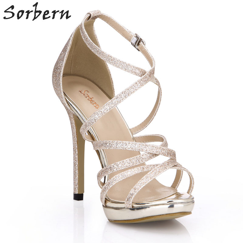 Sorbern Gold Glitter Cross Strap Women Sandals Classical High Heels Night Club Footwear Shoes Women Stiletto Sandals Summer 2018