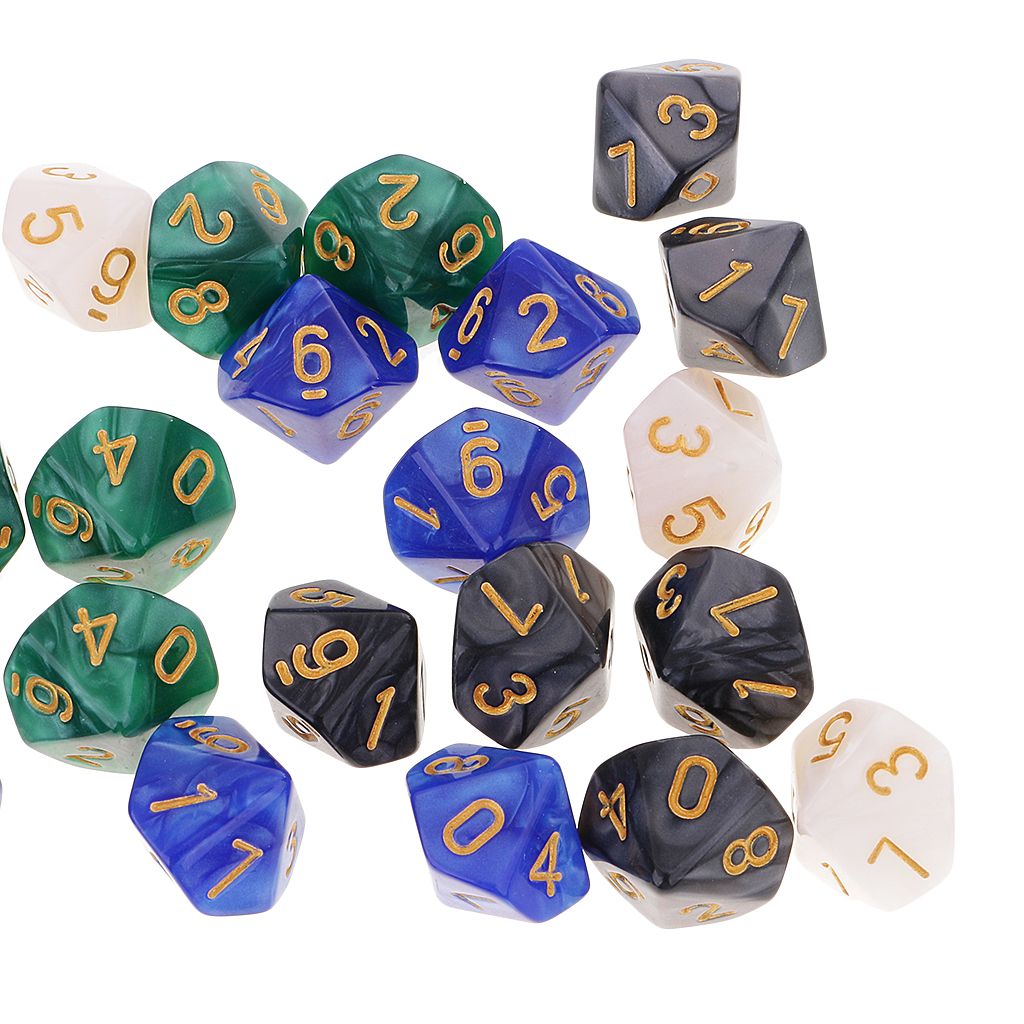 50 Die Polyhedral Set Colorful 16mm D10 Dice with Dice Carry Bag for Dungones Dragons MTG RPG Funny Games Counting Cubes Gift