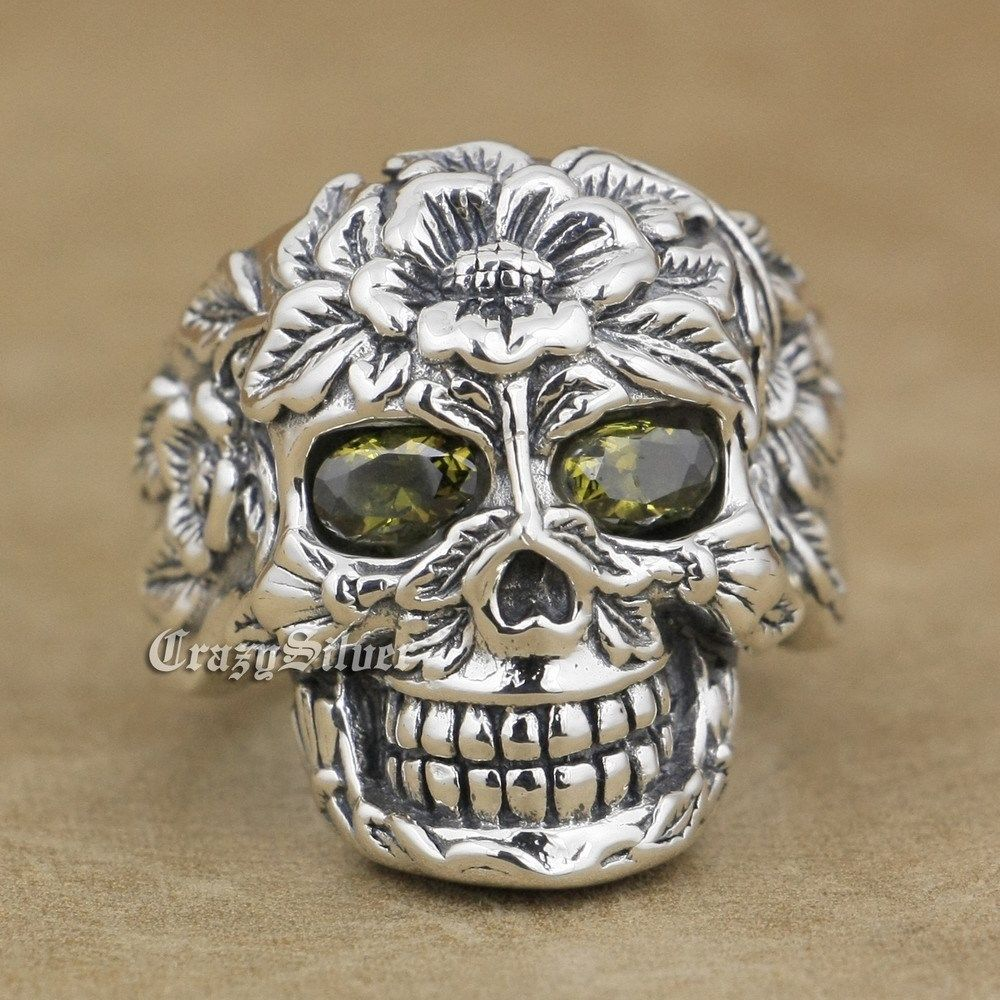 925 Sterling Silver Flower Skull Black Olive Eyes Mens Biker Ring 9W105 US Size 8~14 r003 skull shaped titanium steel ring black silver us size 8