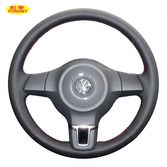 PONSNY Car Steering Wheel Covers Case for Volkswagen VW Golf 6 Santana NF Jetta POLO BORA TOURAN Auto Hand-stitched Cover