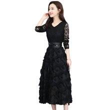 1f916e35535 Vintage Women Dress Black Elegant Medium Length Section V-Neck Long Sleeve  Lace Evening Party