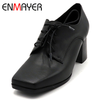 ENMAYER Spring High Heel Shoes Woman Square Toe Square Heel Platform Women Casual Shoes Lace up Dating Solid Shallow Lady Shoes