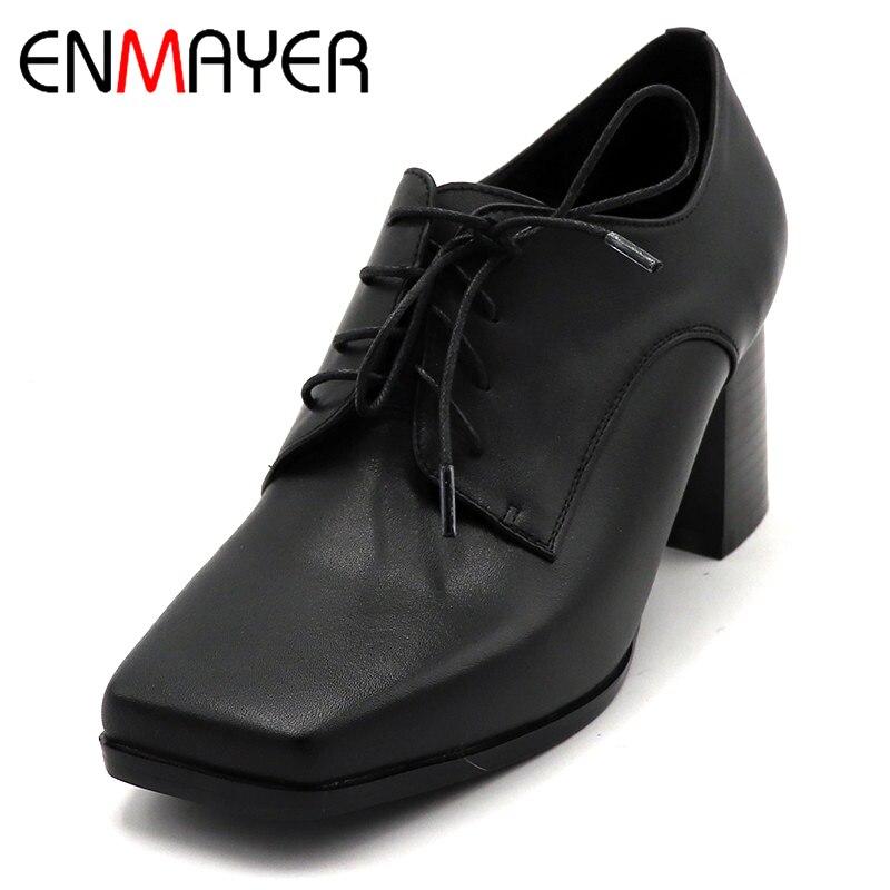 ENMAYER/весенние туфли на высоком каблуке Женская повседневная обувь на квадратном каблуке и платформе с квадратным носком однотонные женские...