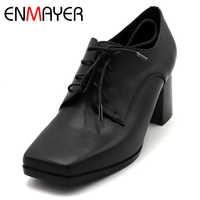 ENMAYER אביב גבוהה עקב נעלי אישה כיכר הבוהן כיכר העקב פלטפורמת נשים נעליים יומיומיות שרוכים היכרויות מוצק גברת רדוד נעליים