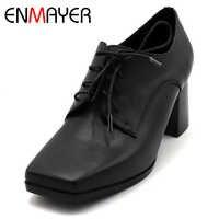 ENMAYER Primavera Mulher Sapatos de Salto Alto Do Dedo Do Pé Quadrado Calcanhar Quadrado Plataforma Mulheres Casual Shoes Lace up Namoro Sólida Rasa sapatos de senhora