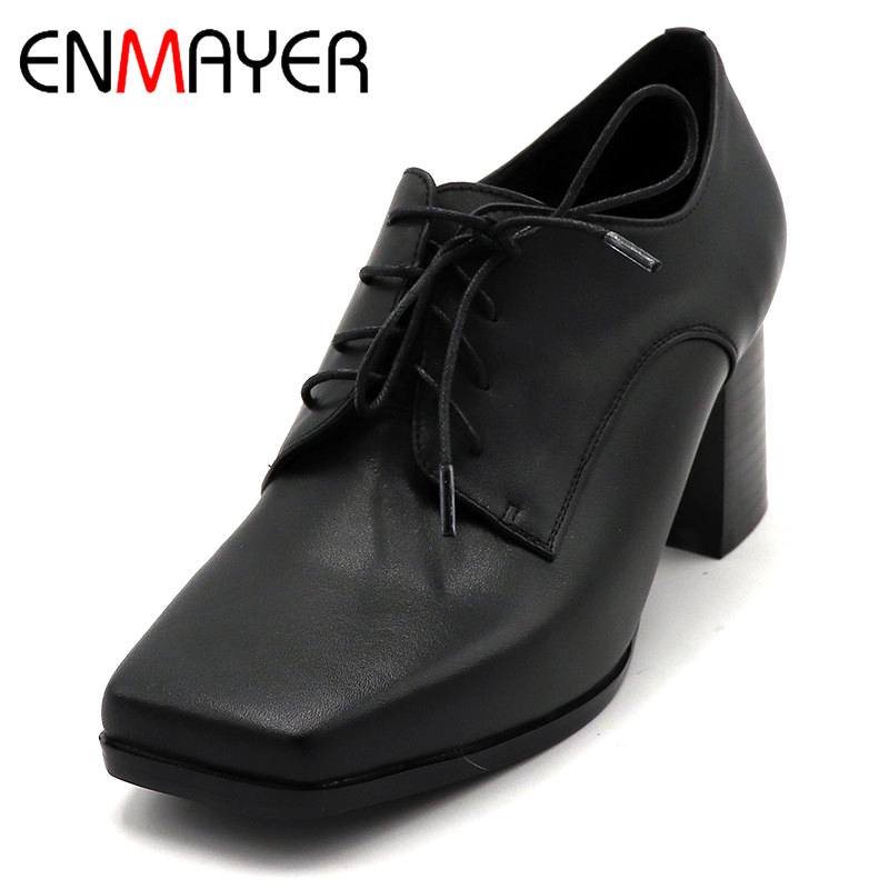 ENMAYER Spring High Heel Shoes Woman Square Toe Square Heel Platform Women Casual Shoes Lace-up Dating Solid Shallow Lady Shoes europe america fashion star cutout lace up high heel shoes for women square toe platform wedges brogue oxford casual shoes us 10