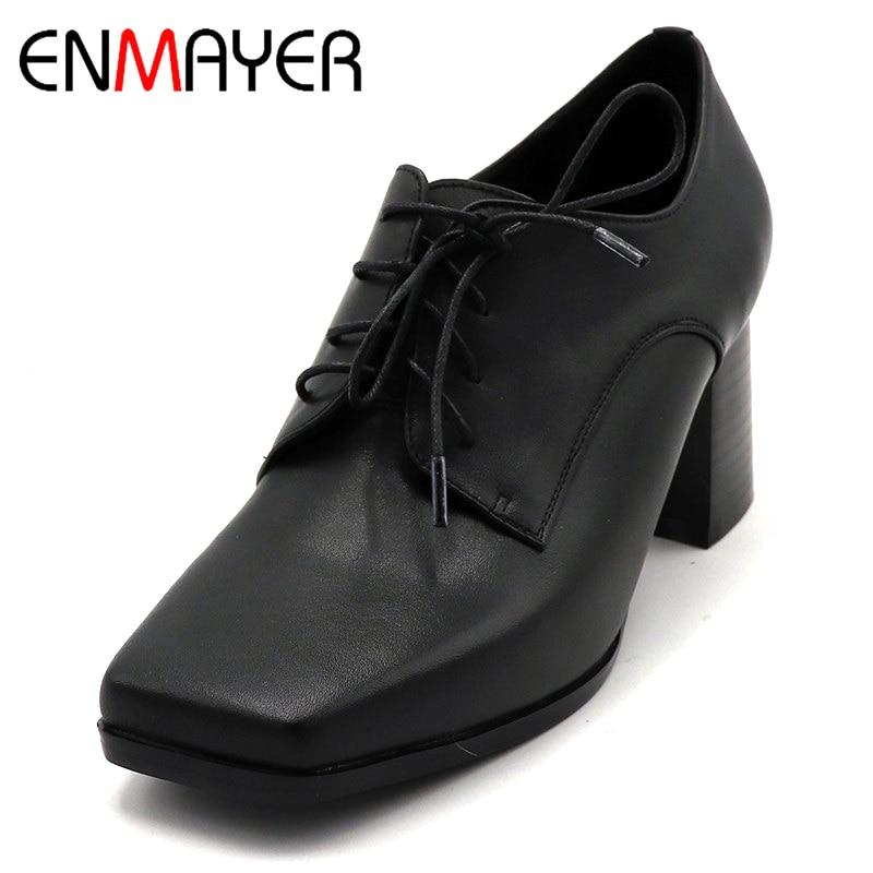 ENMAYER/весенние туфли на высоком каблуке Женская повседневная обувь на квадратном каблуке и платформе с квадратным носком однотонные женские туфли на шнуровке для свиданий