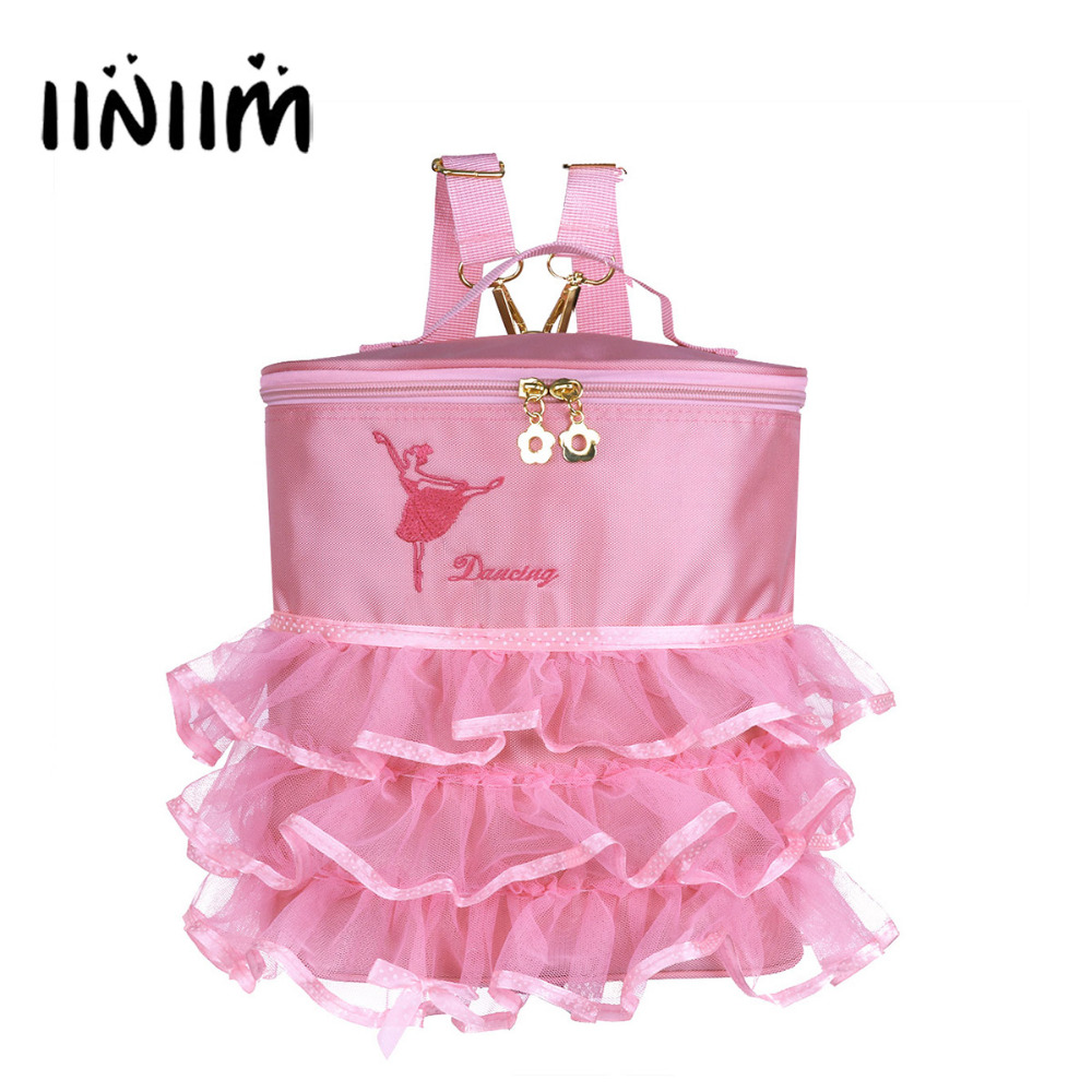 iiniim Kids Girls Ballet Dance Embroidered Ballerina Dancing Bag Tiered Ruffled Mesh Bag Backpack with Plastic/Metal Clasp