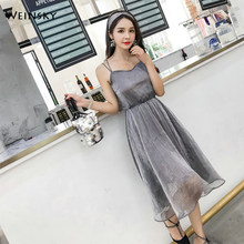 5cab8c4bd56 Weinsky Woman Sesy Dress 2018 Summer Sleeveless Spaghetti Strap Backless  Ladies Beach Chiffon Korean Dresses Party Formal dress