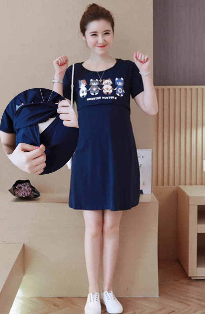 New Summer Clothes Lactation Printing Fashion Short Sleeve Dress Feeding Breastfeeding Clothes Pregnant To Go Out