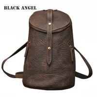 Vintage Genuine Leather Backpack Women Bag Fashion Designers Bucket Bag Crazy Horse Leather Shoulder Bag Unisex