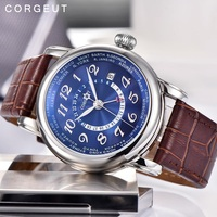 Luxury Brand Automatic GMT Mechanical Watch 43mm Leather Watchband Calendar Waterproof Leisure Sports Watch Men 01