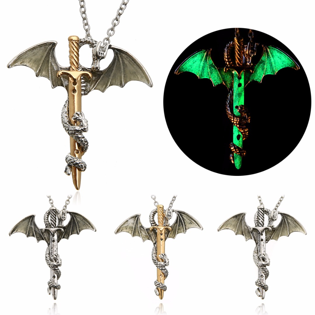 Vintage Glow in the Dark Sword Dragon Pendant Necklace For Mens Punk Luminous Dragon Long Chain Necklace Women Hip Hop Jewelry(China)