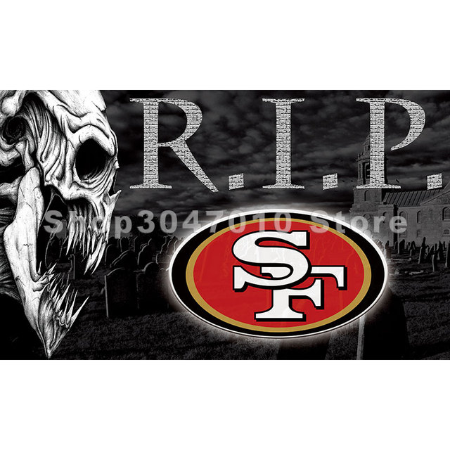 san francisco 49ers skull large outdoor 3 x 5ft banner flag 90x150cm