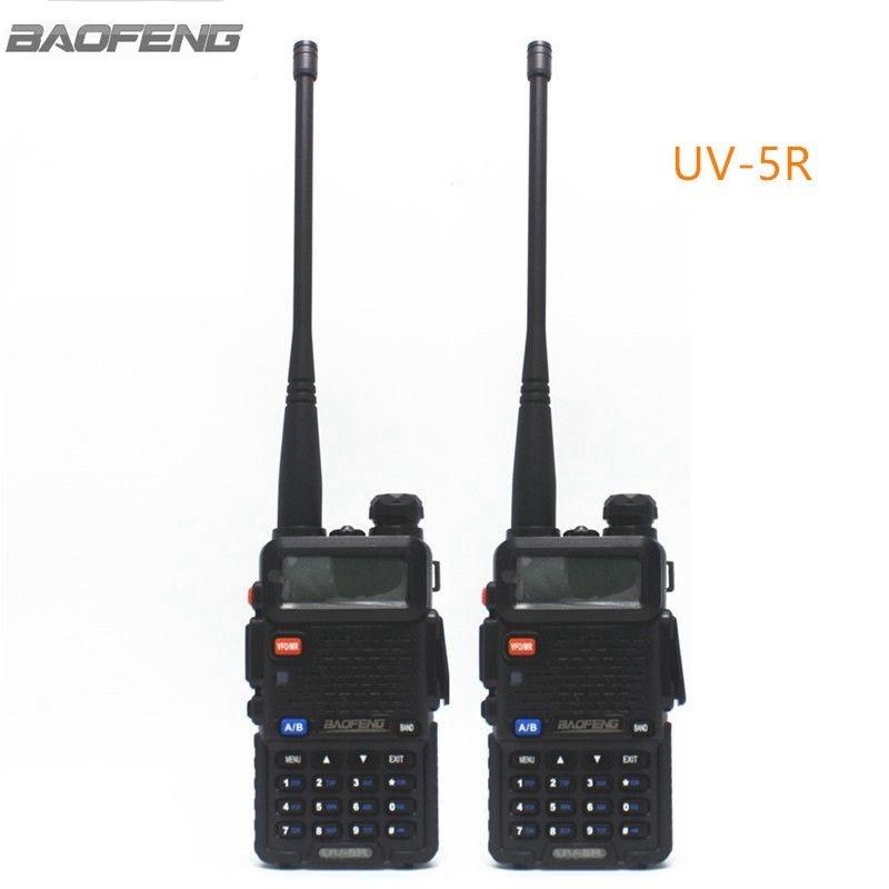 2 unids Baofeng UV-5R Radio Bidireccional Negro de Doble Banda 136-174 MHz y 400-520 MHz Amateur Walkie Talkie Ham Radio UV5R