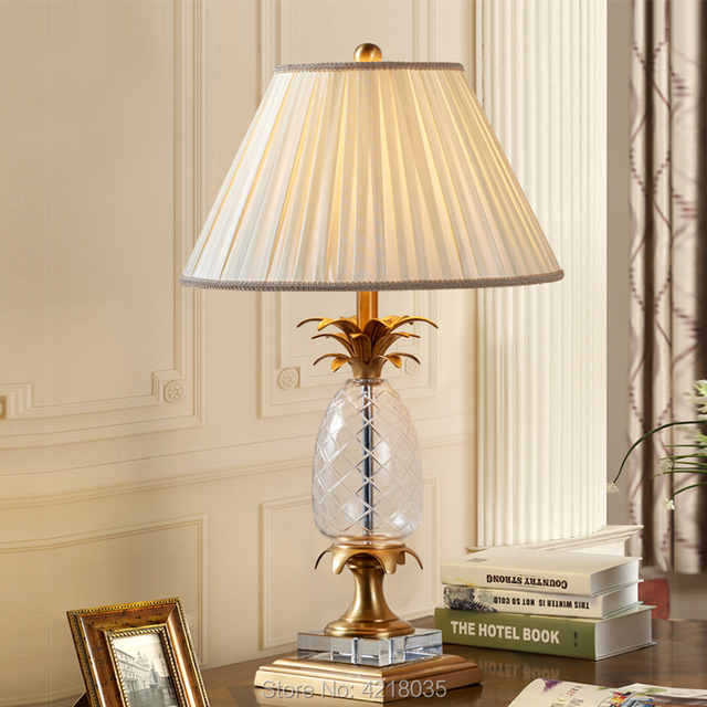 Sy Brass Table Lamp Pineapple Crystal Body With Fabric Shade Foyer
