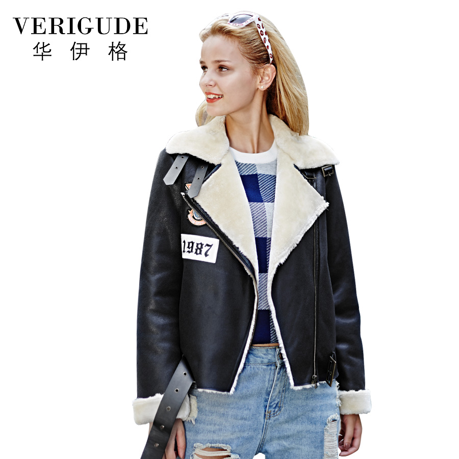 Veri Gude Women Faux Leather Winter Jacket Motorcycle Style Faux Fleece Jacket Beige Black Brown Color Women Warm Outwear
