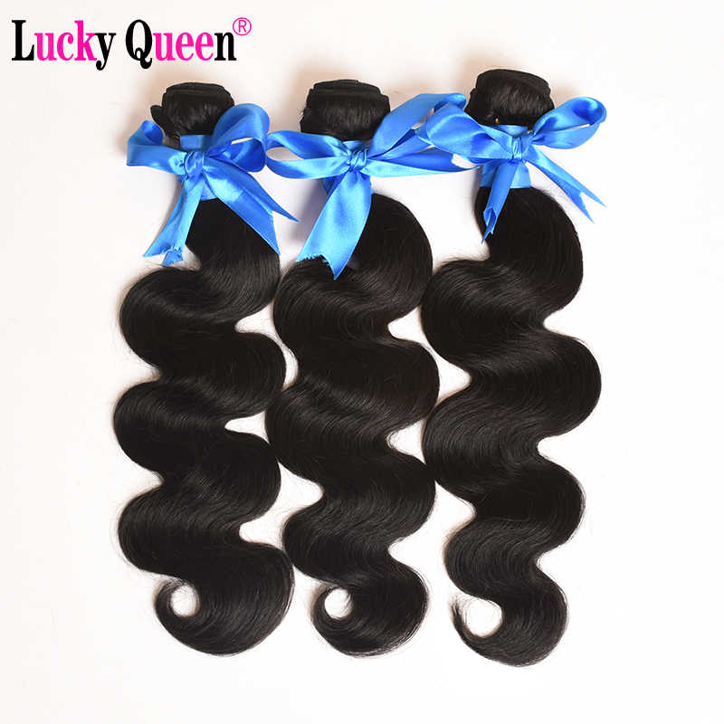 Lucky Queen Hair Peruvian Body Wave #2/1B/27/Natural Color 3 Bundles Deal 100% Human Hair Extension Non Remy Hair Weave Bundles