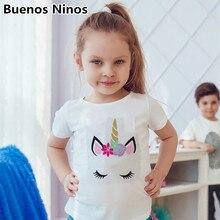 Girls Kids Cute Unicorn O-Round Collar T Shirts Children 95% Cotton Printed short-sleeved T-shirt White Yellow