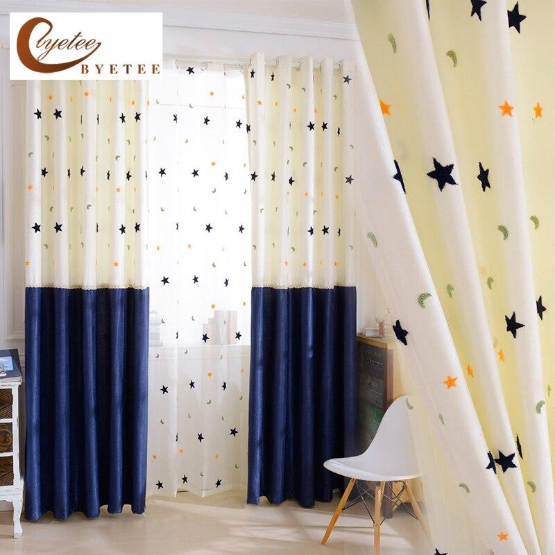 rideau occultant en coton et lin pour enfants rideau en tissu etoile de lune pour chambre de bebe draperies de salon pour enfants