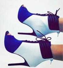hot selling blue patchwork stretch thigh boots peep toe lace-up high heels winter ankle boots for women cut-out dress shoes
