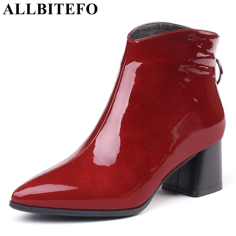 ALLBITEFO size:33-43 Patent leather pointed toe thick heel women boots brand high heels ankle boots women winter snow boots allbitefo fashion retro genuine leather pointed toe thick heel women boots ruffles high heels party shoes girls boots size 33 43
