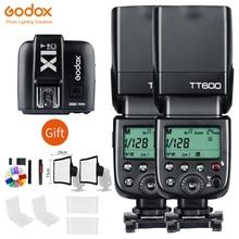 2x Godox TT600 2.4G Wireless Camera Flashes Speedlites With X1T Transmitter Trigger For Canon Nikon Fujifilm Pentax Olympus