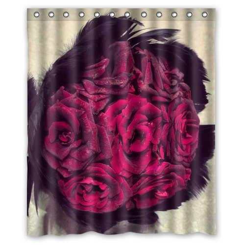 Belo Muito Vivas Rosas Vermelhas Penas Pretas Personalizado Cortinas de Chuveiro Do Banheiro À Prova D' Água 36x72, 48x72, 60x72, 66x72 polegadas