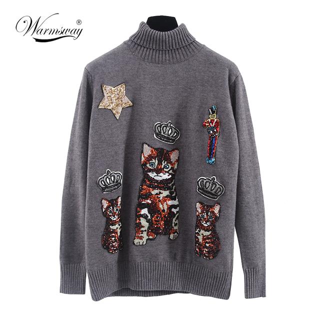 Mulheres suéteres e pulôveres de gola alta camisola 2017 inverno longo cinza 3D bonito Lantejoulas gato grosso quente malha top WS-176