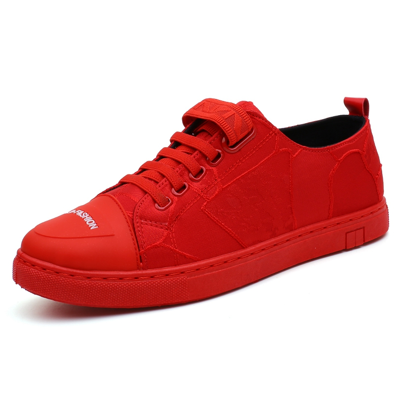 Men Shoes Walking-Sneakers Elastic-Band Comfortable Black Red New Canvas Chaussure Homme