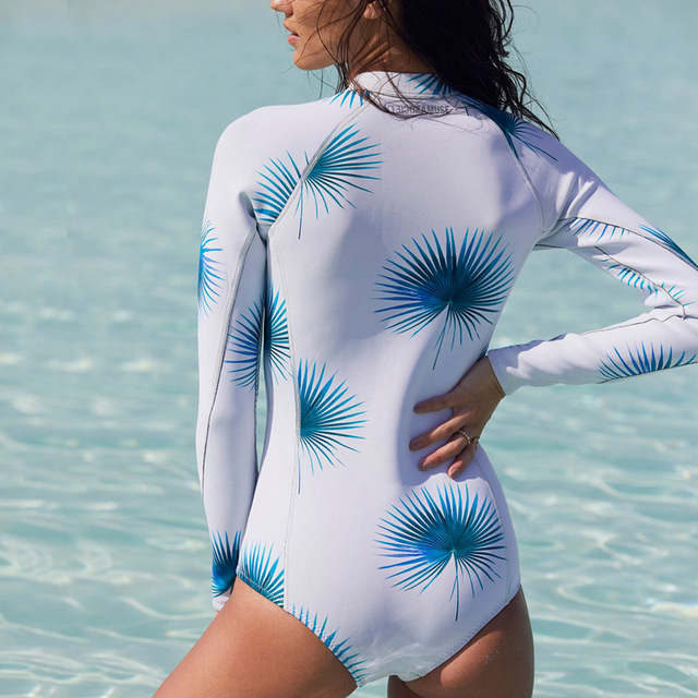 6546c26999 US $11.83 6% OFF|M&M 2018 Sexy Long Sleeve Swimsuit One Piece Swimwear  Women Retro Print Floral Bathing Suit Surfing Bodysuit Swim Suits  Monokini-in ...