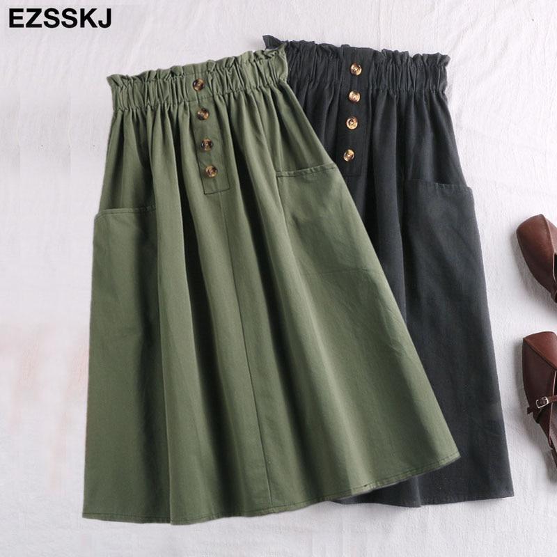 Женская юбка миди на пуговицах, повседневная элегантная юбка с высокой талией и карманами, Корейская хлопковая юбка трапециевидной формы, весна-лето 2019