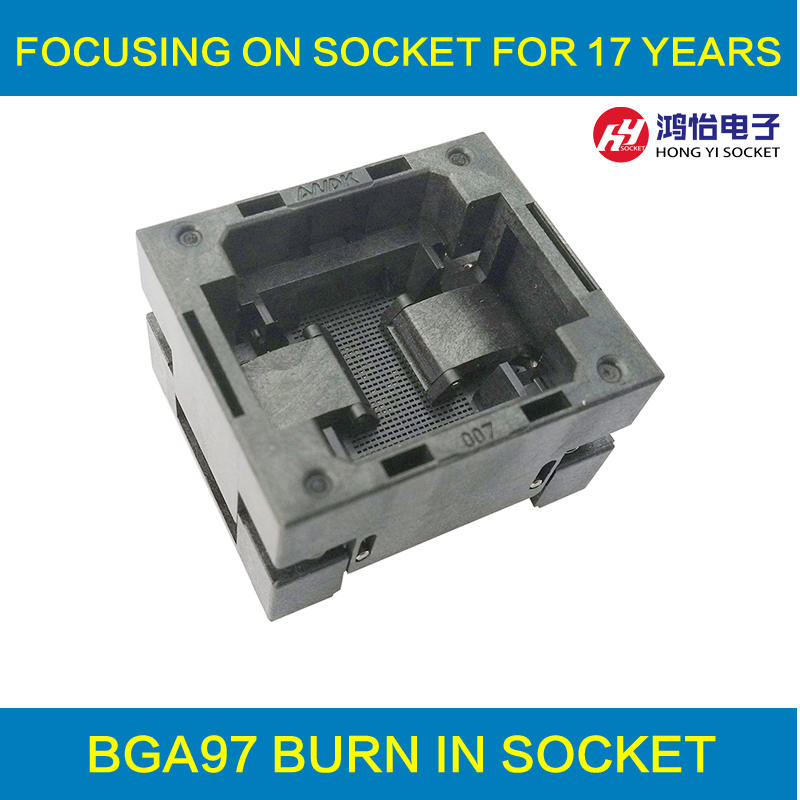 BGA97 OPEN TOP burn in socket pitch 0.8mm IC size 9*9mm BGA97(9*9)-0.8-TP01NT BGA97 VFBGA97 burn in programmer socket ntc5d 9 5d9 9mm