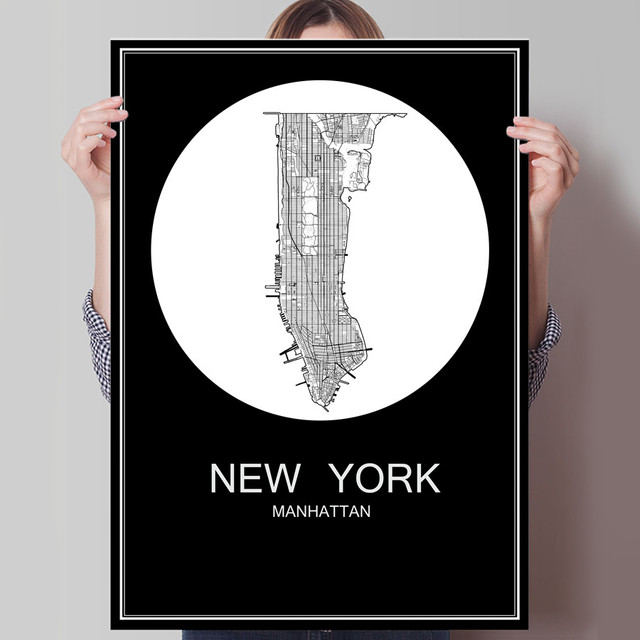 New york usa abstract world city map print poster print on paper or canvas wall sticker