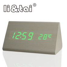 Triangle LED Digital Alarm Clock Temperature Sounds Control Calendar LED Display Electronic Wooden Desktop colorful Table Clock