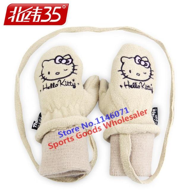 b7117f7cc 2017 New kids Winter professional Girls Boys Hello Kitty Warm gloves White  Cute Snow Ski Gloves For Children